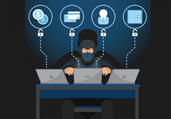 Arte contendo o desenho de um hacker de rosto coberto por uma máscara preta. Ele está sentado de frente a uma mesa com três notebooks, de cada um saem linhas pontilhadas até balões com símbolo de dinheiro, cartões, carteira e pessoa.