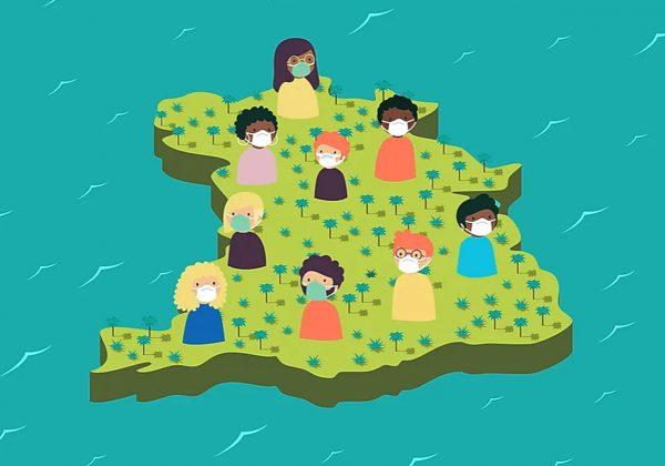 Arte de um mapa, espalhados pela região há pessoas, retratadas da cintura para cima. Todas usam máscaras. Ao redor, há o mar.