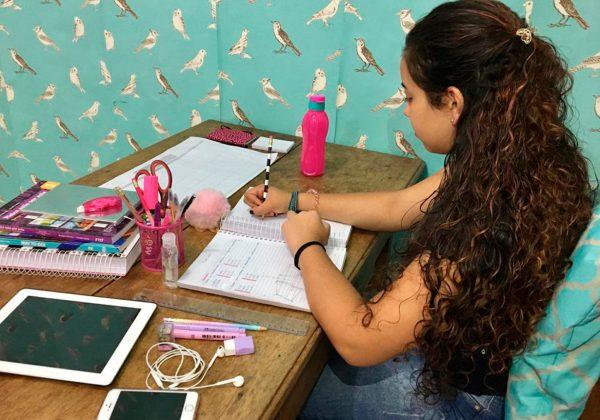 Foto de uma garota estudando em uma escrivaninha