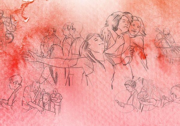Arte com pinceladas de aquarela na cor vermelha e na cor rosa. Ao fundo, há ilustrações de pessoas em diversas situações.