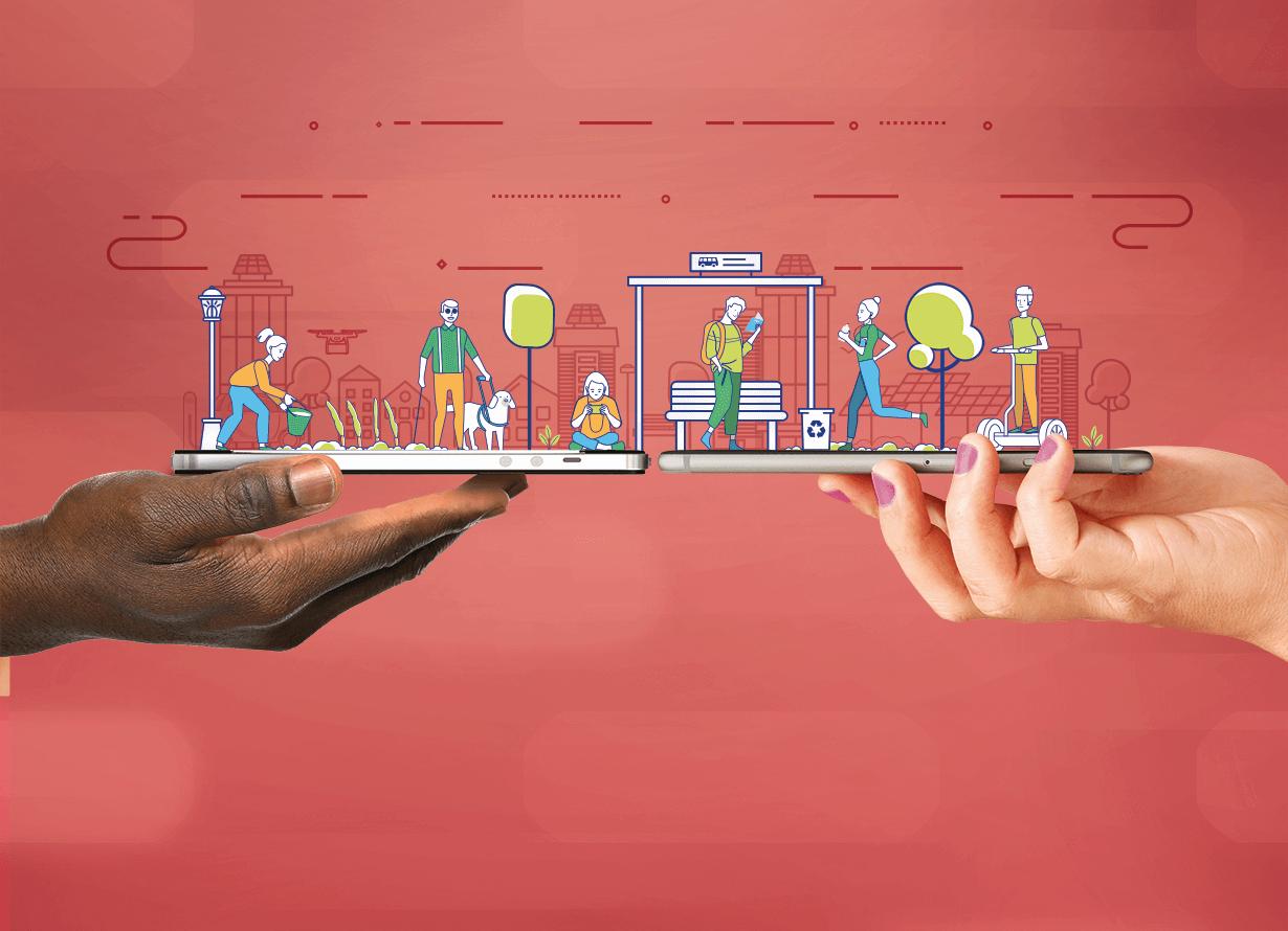 Arte em fundo vermelho com foto de duas mãos segurando dois celulares. Sobre eles, há desenhos de pessoas. Uma mulher regando uma horta, um cego com um cão-guia, um jovem jogando no celular, um homem lendo no ponto de ônibus, Uma mulher correndo e um homem com um patinete elétrico